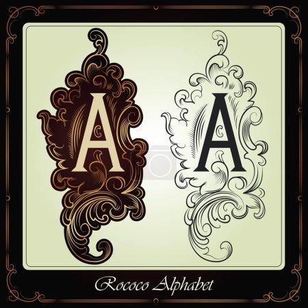 capitales et initiales dans le style rococo