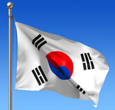 Flag of South Korea against blue sky
