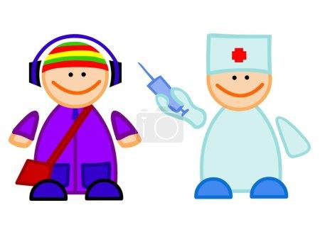Photo pour Bande dessinée illustration du docteur drôle avec vaccin et d'un garçon. - image libre de droit