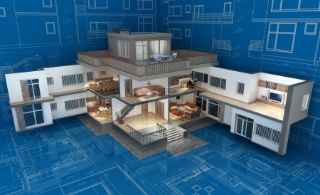 The project of residential house. 3D image....