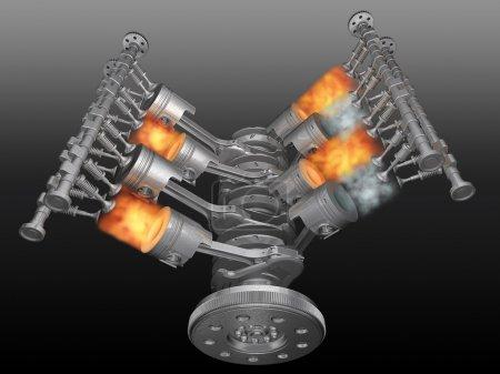 V8 motor pistons, valves, con-rod and crankshaft i...