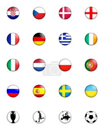 Photo pour Une sélection d'insigne comme des images montrant les drapeaux de tous les pays concurrents du tournoi de football du Championnat d'Europe 2012 et quatre autre b connexe - image libre de droit