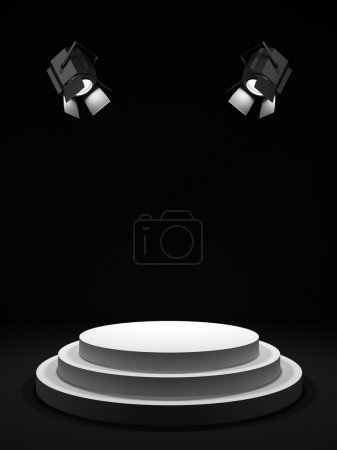 Photo for Empty round white stage in the dark room, shined with searchlights. - Royalty Free Image