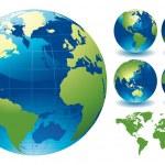 Editable vector illustration of world globe maps...