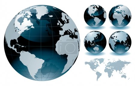 Illustration for Editable vector illustration of world globe map - Royalty Free Image
