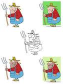 Lucky farmář muž nesoucí hrábě