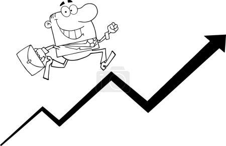Outlined Businessman Running Up An Arrow