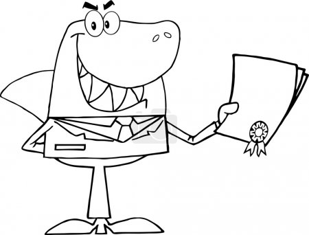 Outlined Shark Businessman Holding A Bad Contract ...