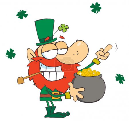 Leprechaun Holding Up His Middle Finger Of A Pot Of Gold