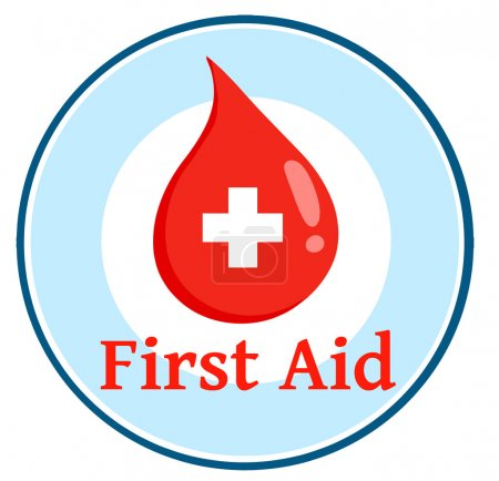 Photo for Red Blood Drop With Banner With Text First Aid - Royalty Free Image