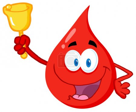 Photo for Happy Red Blood Drop Character Waving A Bell For Donation - Royalty Free Image