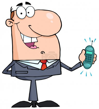 Happy Businessman With Phone Ringing