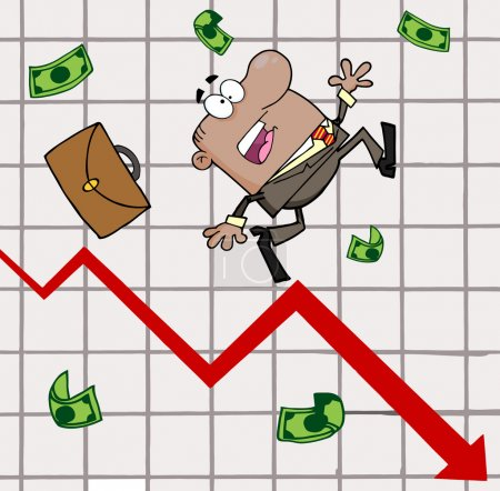 Hispanic Businessman Tripping And Dropping Money On A Graph