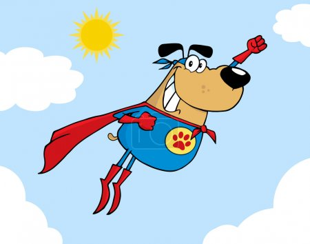 Photo for Brown Super Hero Dog Flying In Sky Cartoon Character - Royalty Free Image