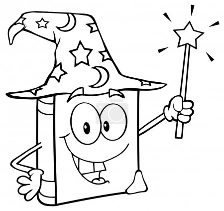 Outlined Wizard Book Cartoon Character Holding A Magic Wand