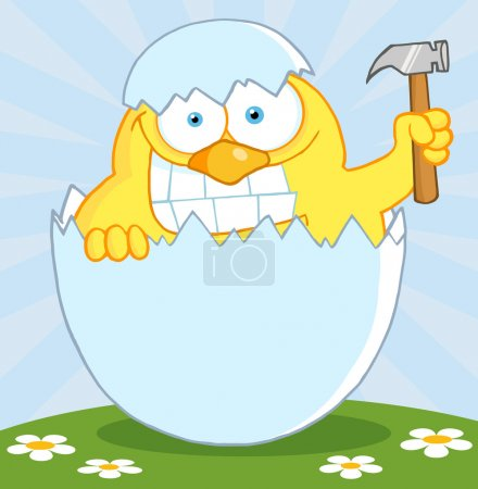 Yellow Easter Chick Holding A Hammer In A Shell On A Hill