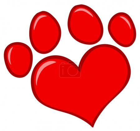 Photo for Red Heart Shaped Dog Paw Print - Royalty Free Image