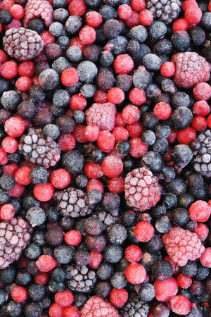 Photo for Close up of frozen mixed fruit - berries - red currant, cranberry, raspberry, blackberry, bilberry, blueberry, black currant - Royalty Free Image