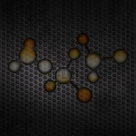 Photo pour Grunge fond de molécule métallique sur maille métallique - image libre de droit