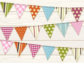 Bunting background one white wood