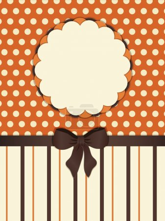 Illustration for Retro style background in orange and brown with 3d flower border - Royalty Free Image