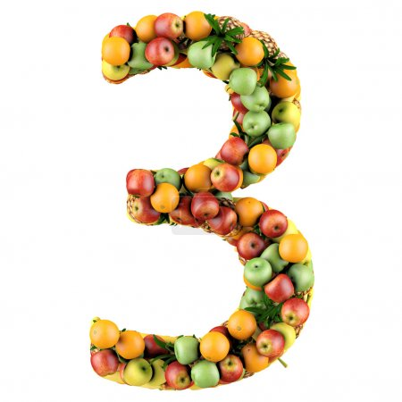 Photo for Number three made from 3d fruits. Isolated on a white. - Royalty Free Image