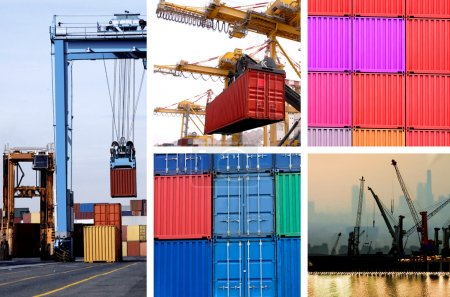 Collage of industrial cranes for cargo containers