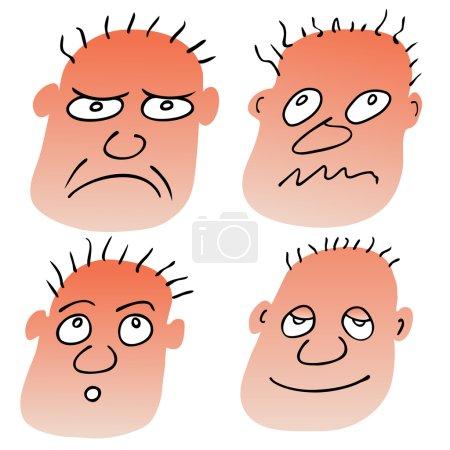 Vecteur différentes expressions faciales