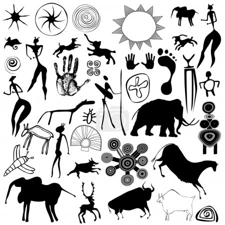 Various drawings - primitive art - cave paintings ...