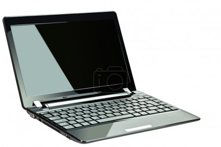 Black netbook isolated on white...