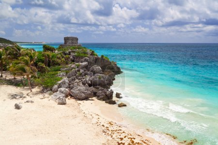 Mayan ruins temple on the beach