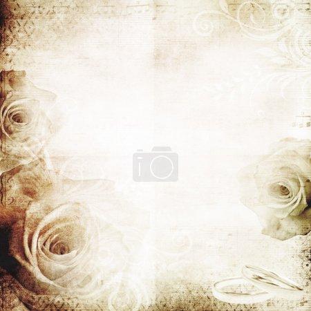 Photo pour Vintage fond de mariage avec des roses - image libre de droit