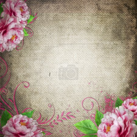 Photo for Retro background in vintage style with roses - Royalty Free Image