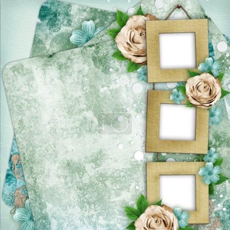 Photo pour Belle page d'album dans le style scrapbook avec cadres en papier pour photo, rose (1 de l'ensemble ) - image libre de droit