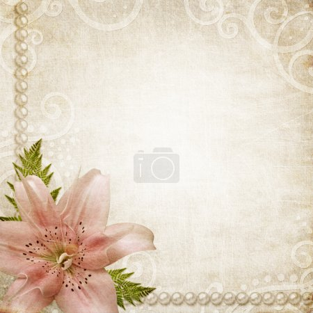 Photo for Paper grunge background with pink lily - Royalty Free Image