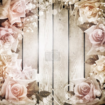 Photo for Wedding vintage romantic background with roses - Royalty Free Image