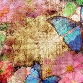 """Постер, картина, фотообои """"Старинный фон с бабочка и цветы"""""""
