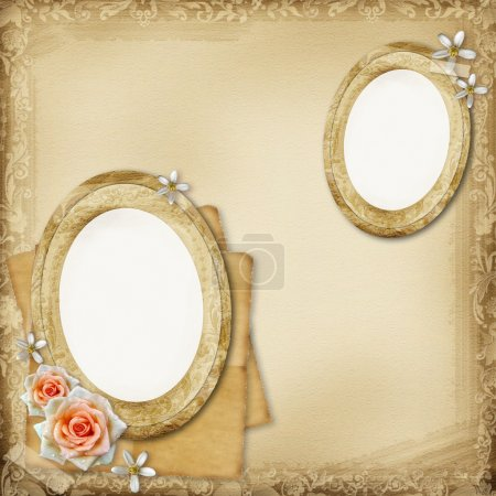 Ancient photo album page background with oval frames and rose