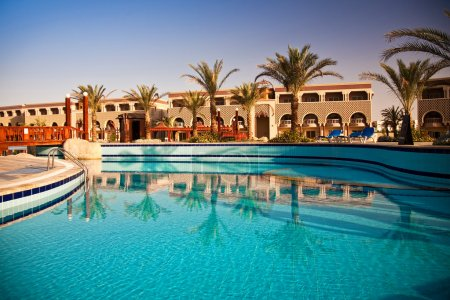 Swimming pool at morning, Hurghada, Egypt