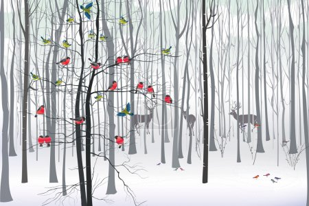 Illustration for Christmas tree decorated with flock of bullfinches and tits in the forest - Royalty Free Image