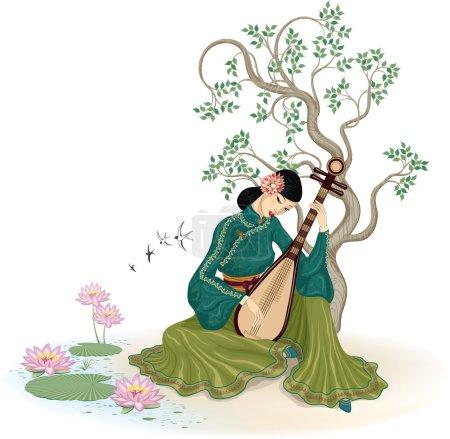 Beautiful Chinese woman playing the pipa