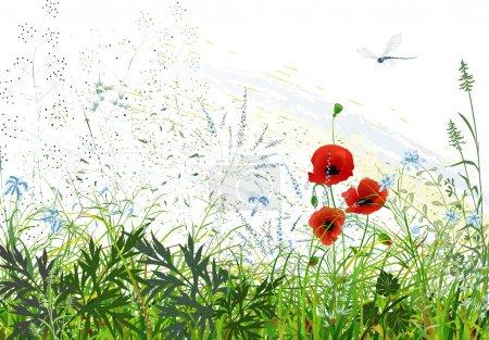Illustration pour Paysage avec herbe sauvage et fleurs et libellule volante - image libre de droit