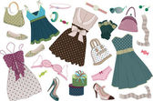Illustration of various women's clothing shoes and accessories in polka-dots isolated on white background