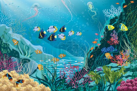 Illustration for Underwater landscape with various water plants and swimming tropical fishes. All objects are grouped. EPS8 - Royalty Free Image