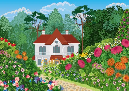 Illustration for The house surrounded by lush blossoming garden. All objects are grouped. - Royalty Free Image