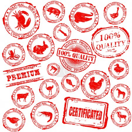 Set various grunge rubber stamp with silhouettes of animals
