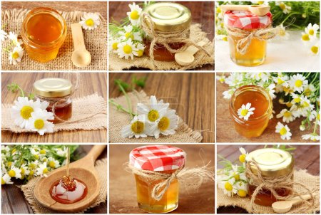 Collage with fresh honey