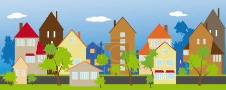 Illustration for A quiet green street of a small town - Royalty Free Image
