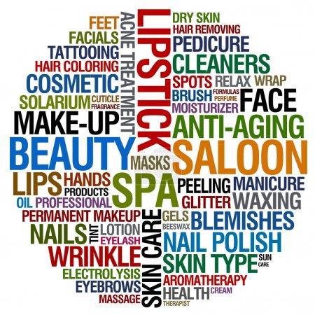 Photo pour Collage de mot pour le salon beauté - image libre de droit