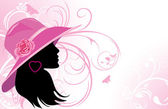Portrait of elegant woman in a hat Fashion background
